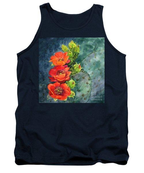 Red Flowering Prickly Pear Cactus Tank Top