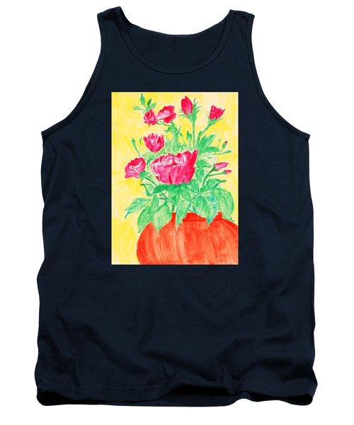 Red Flowers In A Brown Vase Tank Top