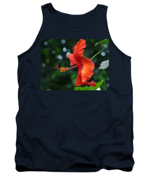 Red Hibiscus Tank Top by Valerie Ornstein