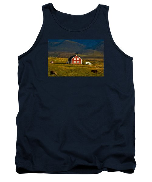 Red House And Horses - Iceland Tank Top by Stuart Litoff