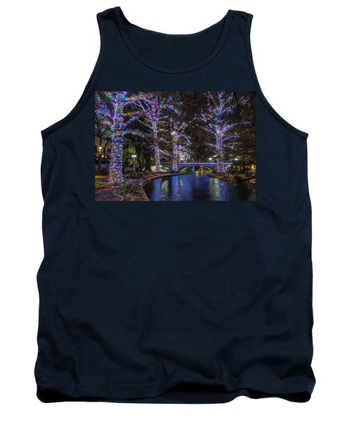 Tank Top featuring the photograph Riverwalk Christmas by Steven Sparks