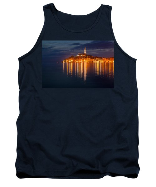 Tank Top featuring the photograph Rovinj By Night by Davorin Mance
