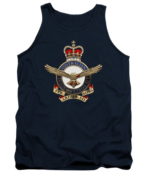 Royal Australian Air Force -  R A A F  Badge Over Blue Velvet Tank Top