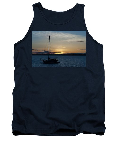 Sail Boat At Sunset Tank Top