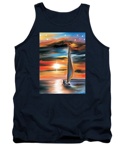 Sailboat And Sunset Tank Top by Darren Cannell