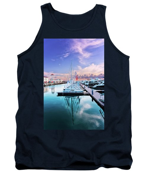 sailboats and yachts in the roads of the main sea channel of the Sochi seaport Tank Top