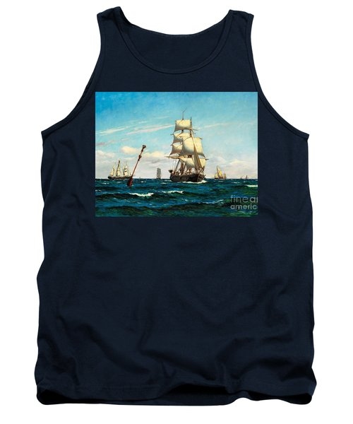 Tank Top featuring the painting Sailing Ships At Sea by Pg Reproductions