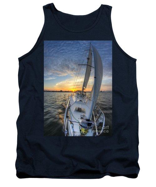 Sailing Sunset Sailboat Fate Charleston  Tank Top