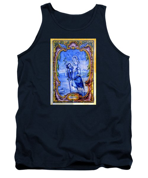 Saint Christopher Carrying The Christ Child Across The River - Near Entrance To The Carmel Mission Tank Top