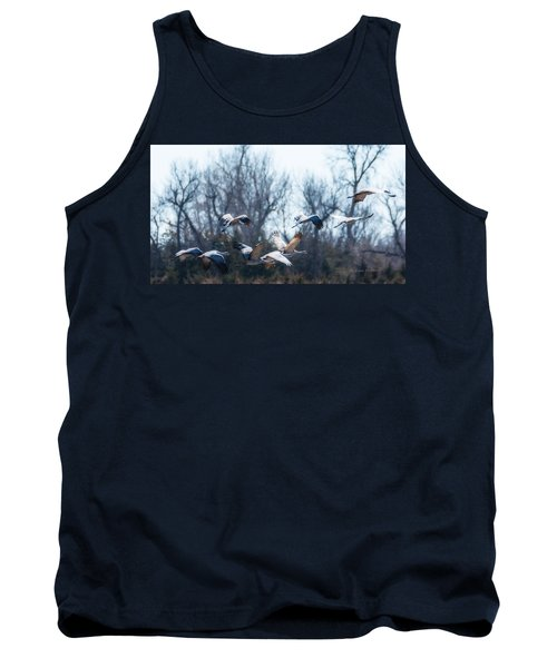 Tank Top featuring the photograph Sandhill Crane In Flight by Edward Peterson