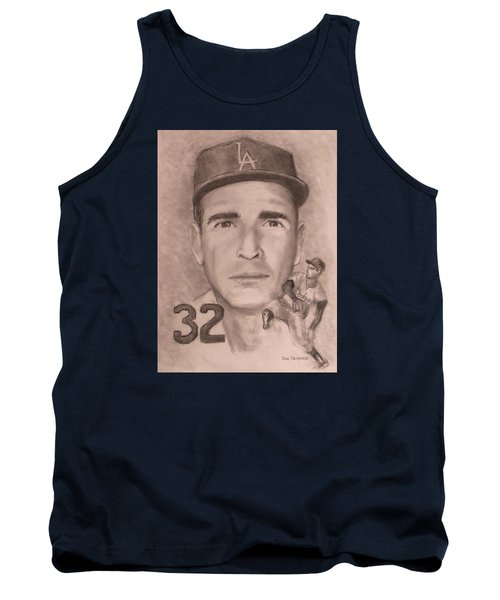 Tank Top featuring the drawing Sandy Koufax by Jack Skinner
