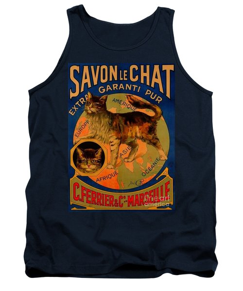 Savon Le Chat Antique French Poster Tank Top