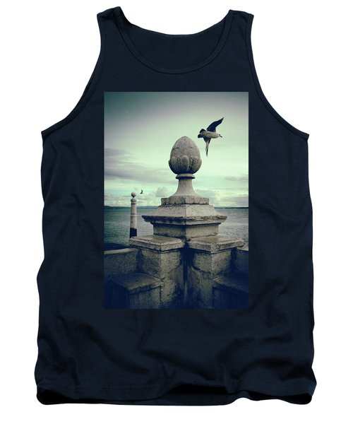 Tank Top featuring the photograph Seagulls In Columns Dock by Carlos Caetano