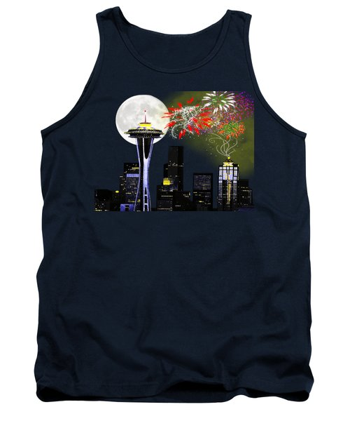 Seattle Skyline Tank Top by Methune Hively
