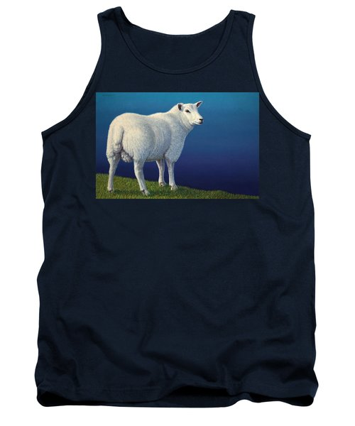 Sheep At The Edge Tank Top by James W Johnson