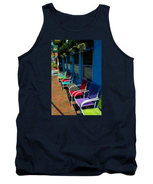 Sidewalk Cafe Tank Top by Kevin Fortier