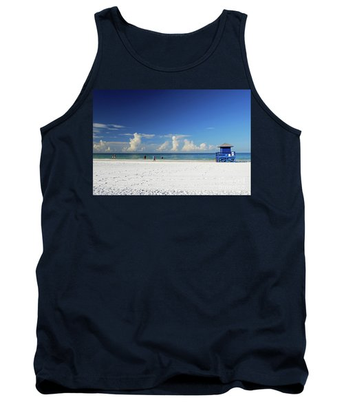 Tank Top featuring the photograph Siesta Key Life Guard Shack by Gary Wonning
