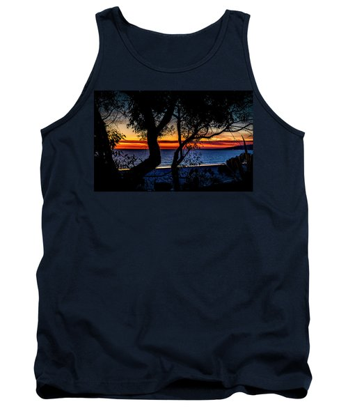 Silhouettes Over Blue Water Tank Top