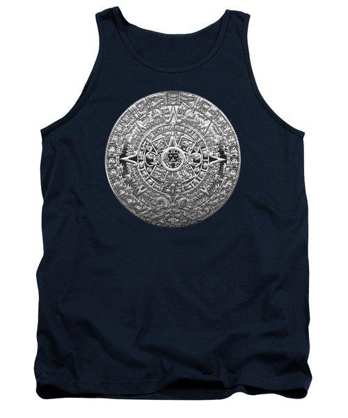 Silver Mayan-aztec Calendar On Blue Tank Top