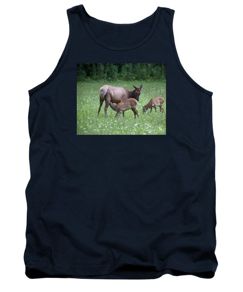 Smoky Mountain National Park Elk Cow Nursing Calf Tank Top by Nature Scapes Fine Art
