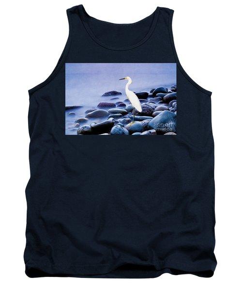 Snowy Egret On The Rocks Tank Top