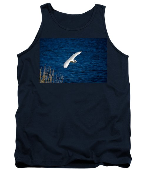 Soaring Snowy Egret  Tank Top by DigiArt Diaries by Vicky B Fuller