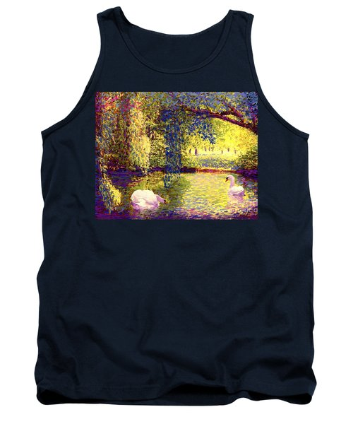 Tank Top featuring the painting Swans, Soul Mates by Jane Small