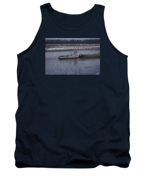 Tank Top featuring the photograph Southbound Barges by Jane Eleanor Nicholas
