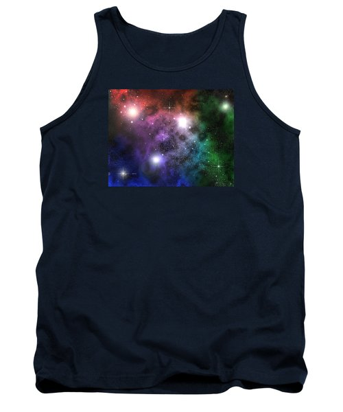 Tank Top featuring the digital art Space Clouds by Phil Perkins