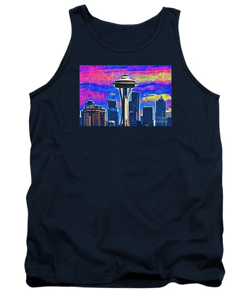 Space Needle Colorful Sky Tank Top