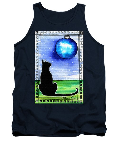 Sparkling Blue Bauble - Christmas Cat Tank Top