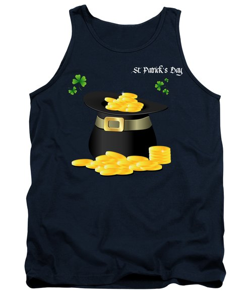 St. Patrick's Day Gold Coins In Hat Tank Top by Serena King