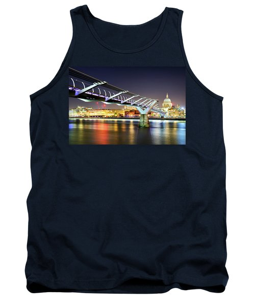 St Paul's Cathedral During Night From The Millennium Bridge Over River Thames, London, United Kingdom. Tank Top