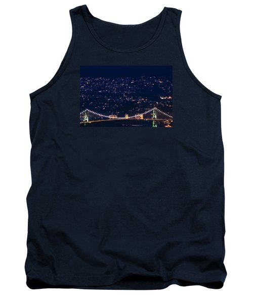 Tank Top featuring the photograph Starry Lions Gate Bridge - Mdxxxii By Amyn Nasser by Amyn Nasser