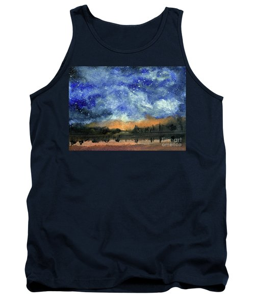 Starry Night Across Our Lake Tank Top by Randy Sprout