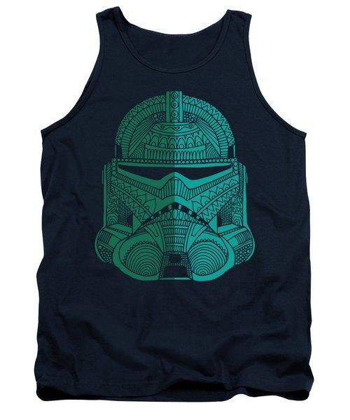 Stormtrooper Helmet - Star Wars Art - Blue Green Tank Top