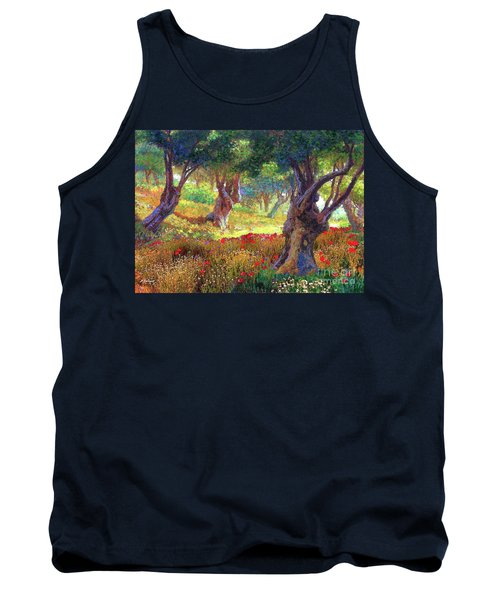 Tank Top featuring the painting Tranquil Grove Of Poppies And Olive Trees by Jane Small