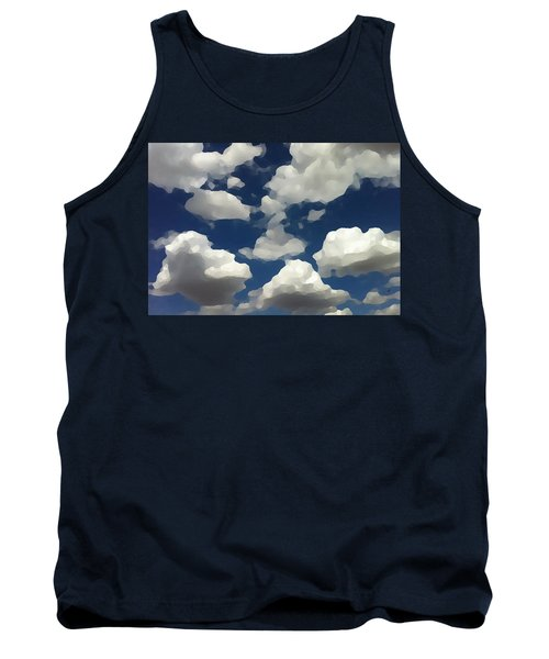 Tank Top featuring the digital art Summer Clouds In A Blue Sky by Shelli Fitzpatrick