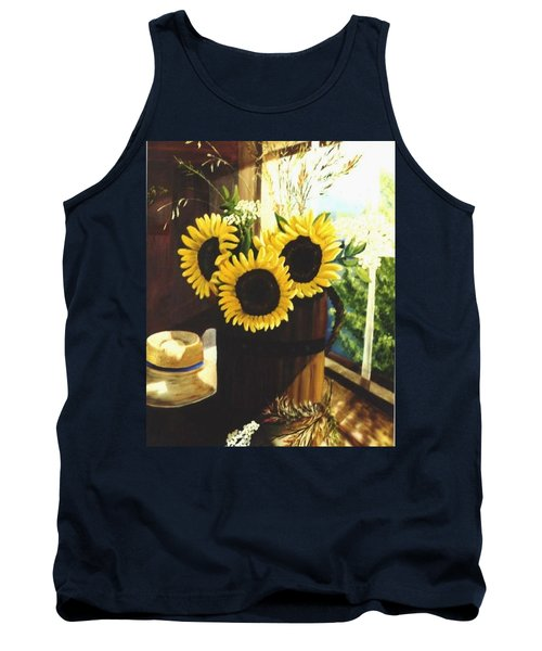 Tank Top featuring the painting Sunflower Sill by Renate Nadi Wesley