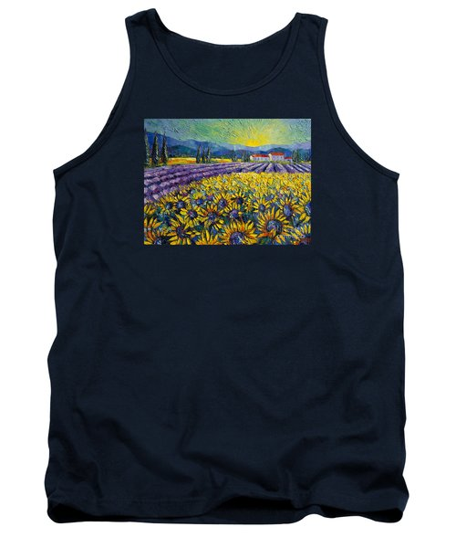 Sunflowers And Lavender Field - The Colors Of Provence Tank Top