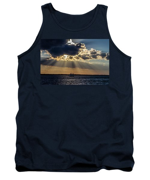 Sunset And A Three Masted Schooner Tank Top by Menachem Ganon