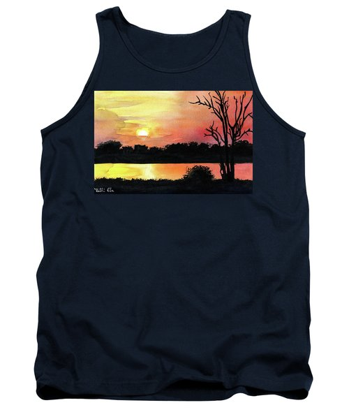 Tank Top featuring the painting Sunset At Shire River In Malawi by Dora Hathazi Mendes