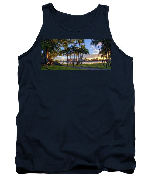 Sunset Over Downtown West Palm Beach From Palm Beach Island Tank Top