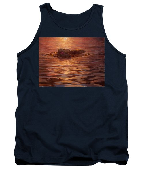 Tank Top featuring the painting Sunset Snuggle - Sea Otters Floating With Kelp At Dusk by Karen Whitworth