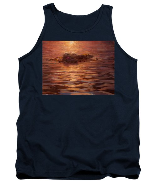 Sea Otters Floating With Kelp At Sunset - Coastal Decor - Ocean Theme - Beach Art Tank Top