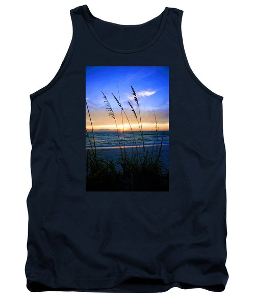 Tank Top featuring the photograph Sunset Thru The Sea Oats At Delnor Wiggins by Robb Stan