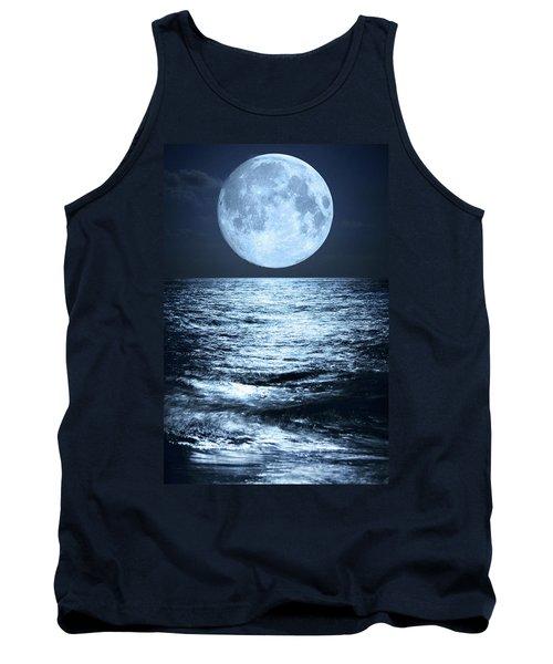 Super Moon Over Ocean Tank Top