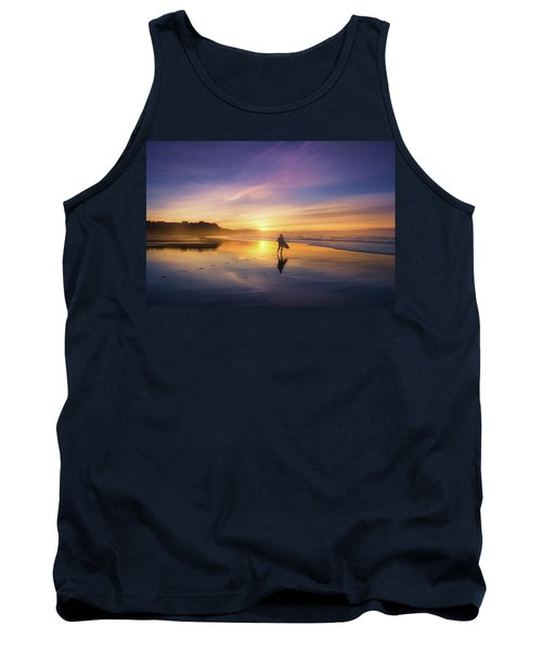 Surfer In Beach At Sunset Tank Top
