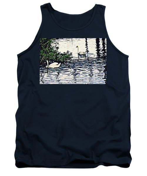 Tank Top featuring the photograph Swan Family On The Rhine 3 by Sarah Loft