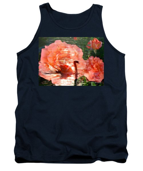 Swan In Lake With Orange Flowers Tank Top by Annie Zeno